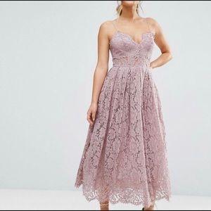 Lace Cami Midi Prom Dress - Lilac / US 0